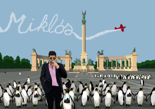 """Az egyik Vodafone-kívánság: """"Szeretnék pingvinekkel sétálni a Hősök terén, akiknek fényképezőgép van a nyakában, mint az ázsiai turistáknak."""" - Miklós. Még több képért kattintson ide!"""