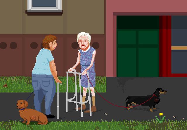 """Mondik nem idealizál. A kép címe: """"Nénik daganatos tacskót sétáltatnak"""""""