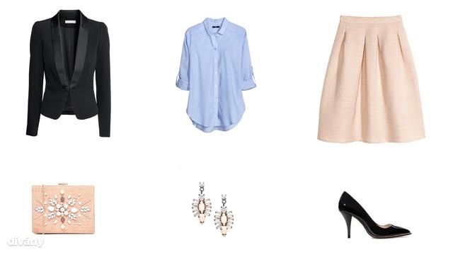 Szmokingkabát - 9990 Ft (H&M), blúz - 5990 Ft (H&M), szoknya - 8990 Ft (H&M), táska - 28,56 euró (New Look/Asos), fülbevaló - 17,14 euró (Coast/Asos), cipő - 9995 Ft (Zara)