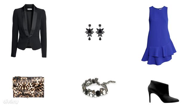 Szmokingkabát - 9990 Ft (H&M), ruha - 14990 Ft (H&M), táska - 28,57 euró (Aldo/Asos), karkötő - 5595 Ft (Mango), fülbevaló - 2695 Ft (Parfois), bokacsizma - 15995 Ft (Zara)