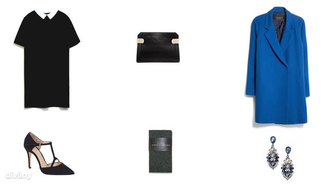 Ruha - 14995 Ft (Zara), harisnya - 4995 Ft (Zara), kabát - 27995 Ft (Mango), fülbevaló - 2990 Ft (H&M) , táska - 31,43 euró (Asos) , cipő - 7900 Ft (F&F)