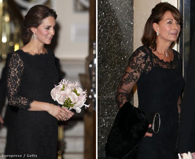 Katalin és és anyja a The Royal Variety Performance megtekintése után távozik a londoni Palladiumból 2014. november 13-án.