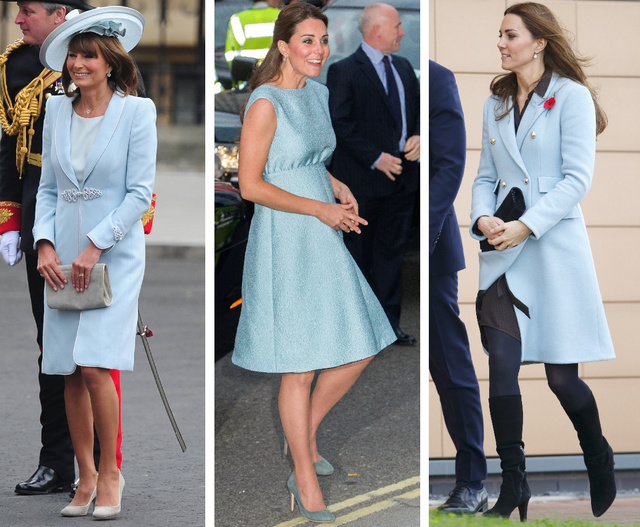 A kék világos árnyalatát is imádják a Middleton família női.