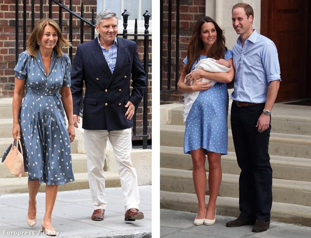 György herceg születésekor Katalin és anyja is kék alapon pöttyös ruhában álltak ki a kórház elé.