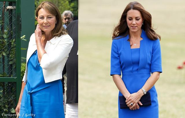 Mindketten szeretik a kék színt: 2013. júniusában Carole a wimbledoni teniszmeccseket nézte kékben, Katalin 2014 nyarán a londoni Tower melletti pipacsmezőn sétált.