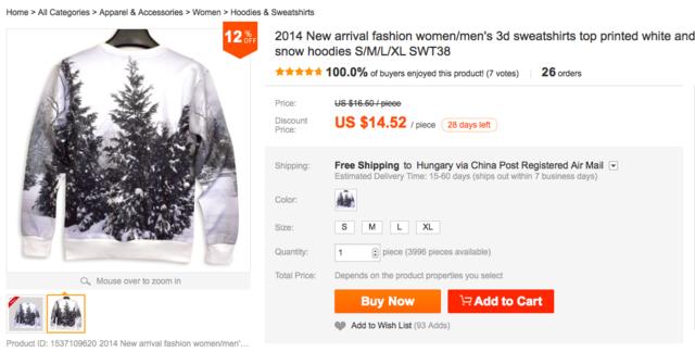 A DVA butik ezt az alig háromezer forintos pulcsit 13 ezerért árulja.