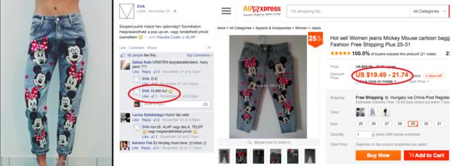 A Mickey egeres nadrágot 15 500 forintért árulják, miközben Aliexpresszen 20 dollárért, vagy kb. 5800 forintért megkapja.
