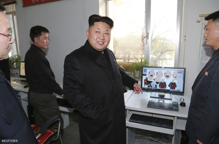 Kim Dzsongun egy Észak-Korea rajzfilmgyárában