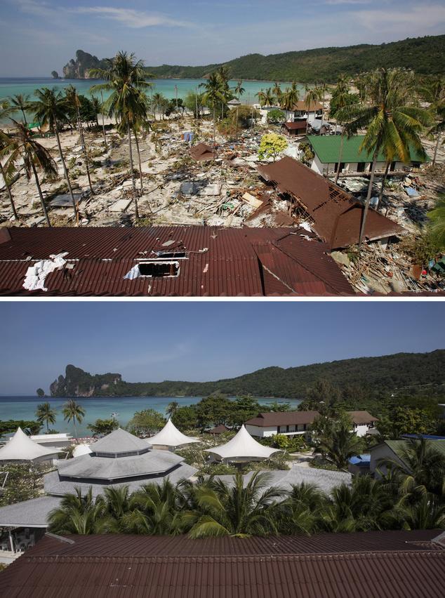 A felső kép 2004-ben, az alsó 2014-ben készült, mindkettőn a turisták körében népszerű, thaiföldi Koh Phi Phi látható
