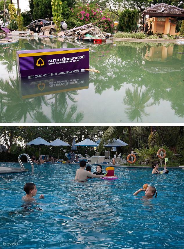 A Holiday Inn medencéje a thaiföldi Phuketen. A felső kép a cunami után készült 2004-ben, a medence vizében egy bankautomata és autók roncsai láthatók. Az alsó, 2014-ben készült képen már turisták strandolnak.