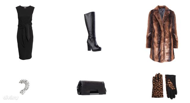 Bunda - 17900 Ft (F&F), ruha - 12990 Ft (H&M), fülbevaló - 3295 Ft (Mango), táska - 12995 Ft (Zara), kesztyű - 21,41 euró (New Look/Asos), csizma - 27900 Ft (CCC)
