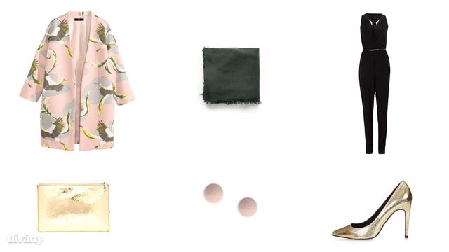 Kabát - 9990 Ft (H&M), overall - 7500 Ft (F&F), sál - 3495 Ft (Mango), fülbevaló - 459 Ft (Parfois), táska - 64,29 (Whistles/Asos), cipő - 40 font (Topshop)