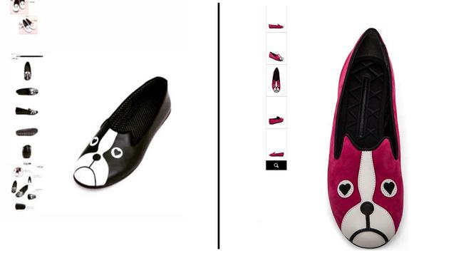 A Cin Cin Amica a bal oldali képpel csábítja vűsűrlóit, a Shopbop a jobb oldali fotóval kínálja a náluk 62 ezer forintba kerülő kutyás cipőt.