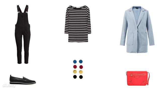 Nadrág - 9990 Ft (H&M), póló - 3995 Ft (Zara), kabát - 12 font (New Look), fülbevaló - 1290 Ft (H&M), táska - 4995 Ft (Mango) , cipő - 92,86 euró (Shellys London/Asos)