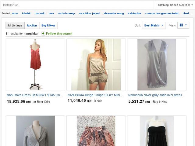 Nanushkától több darab is megtalálható az eBay-en