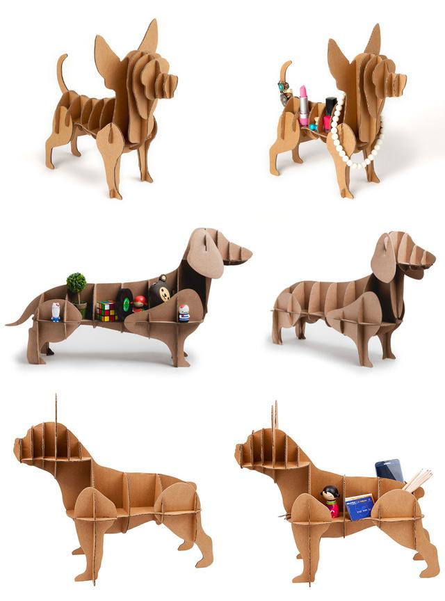 3D cardboard dog organizer Chucho 03
