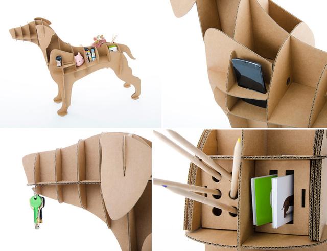 3D cardboard dog organizer Chucho 02