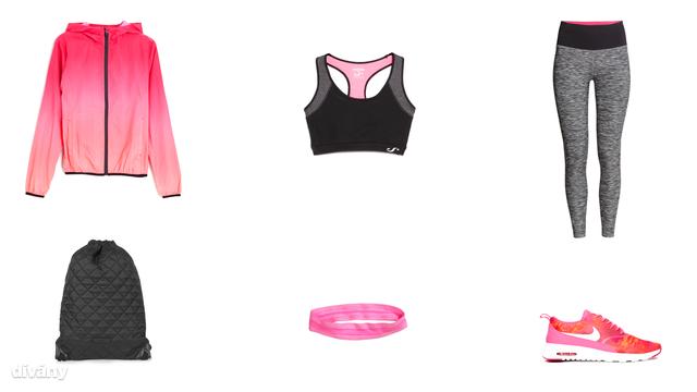 Leggings - 6990 Ft (H&M), sportmelltartó - 6995 Ft (Mango), dzseki - 9995 Ft (Oysho), fejpánt - 790 Ft (H&M), hátizsák - 12 font (Topshop), edzőcipő - 131,43 euró(Nike/Asos)