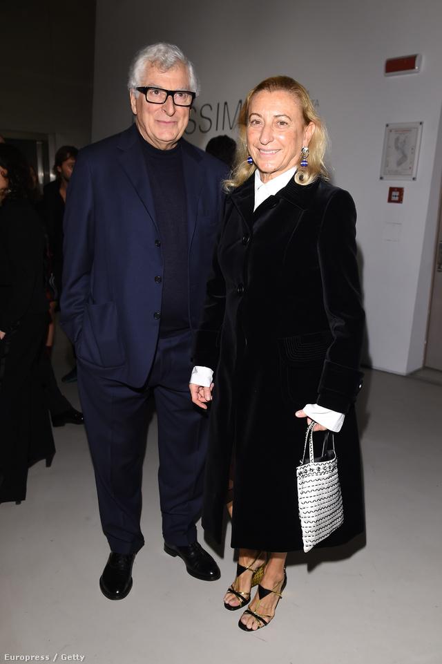 Miuccia Prada üzlettársával és férjével, Patrizio Bertellivel