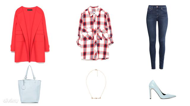 Kabát - 34995 Ft (Zara), ing - 11995 Ft (Zara), farmernadrág - 12990 Ft (H&M), táska - 36 font (Topshop), nyaklánc - 2795 Ft (Mango), cipő - 64,29 euró (Asos)