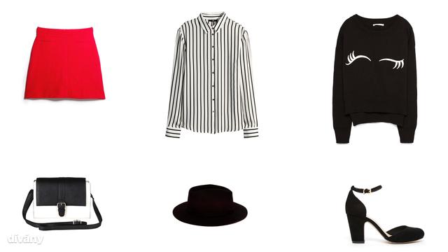 Szoknya - 9995 Ft (Mango), blúz - 5990 Ft (H&M), pulóver - 7495 Ft (Zara), táska - 6500 Ft (F&F), kalap - 9995 Ft (Zara), cipő - 50 euró (Asos)