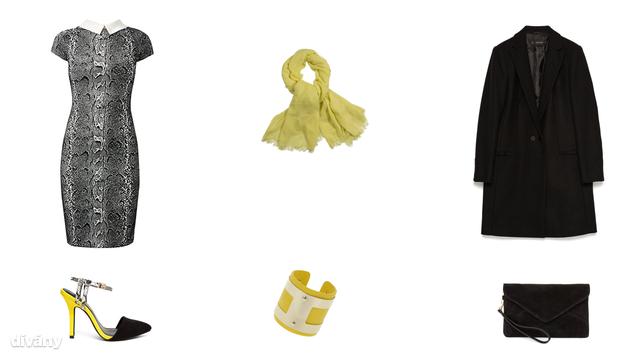 Ruha - 70 font (New Look), sál - 2390 Ft (F&F), kabát - 29995 Ft (Zara) , cipő - 87,83 euró (Miss KG/Asos), karkötő - 14,50 font (Topshop), táska - 6995 Ft (Mango)
