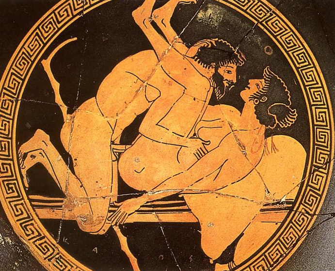 Sexual scene at a red-figure tondo of a kylix at the Museo nazio