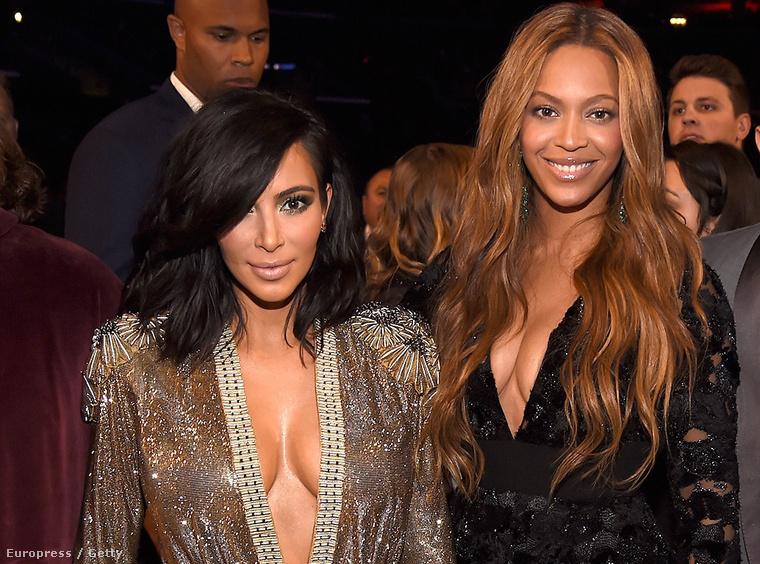 Kim Kardashian és Beyoncé a Grammy-gálán február 8-án