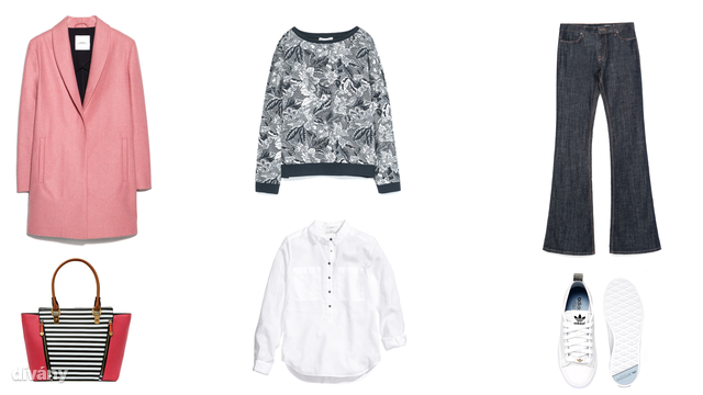 Kabát - 33995 Ft (Mango), pulóver - 8995 Ft (Zara), nadrág - 14995 Ft (Zara), táska - 24,99 font (New Look), ing - 5990 Ft (H&M), cipő - 74,32 euró (Adidas/Asos)