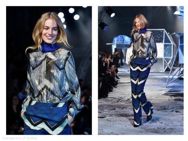Axente Vanessa kék-fekete-fehérben a H&M bemutatóján