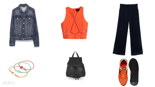 Kabát - 9995 Ft (Zara), felső - 5990 Ft (H&M), nadrág - 9595 Ft (Stradivarius), karkötők - 1995 Ft (Mango), hátizsák - 36 font (Topshop), cipő - 81,08 euró (New Balance/Asos)