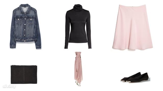 Kabát - 9995 Ft (Zara), garbó - 2990 Ft (H&M), szoknya - 3995 Ft (Mango), táska - 33,78 euró (Asos), sál- 5995 Ft (Parfois), cipő - 6995 Ft (Stradivarius)