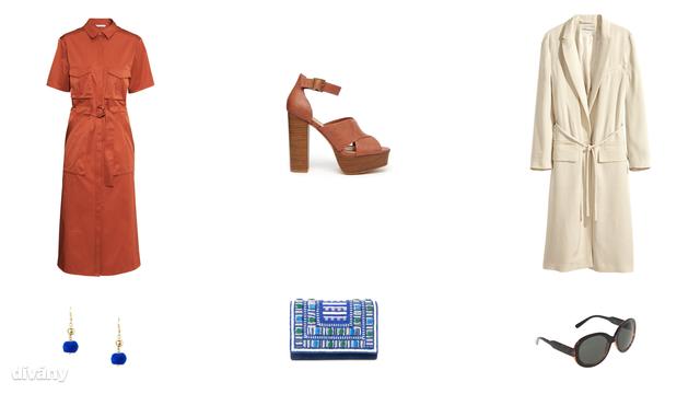 Ruha - 14990 Ft (H&M) , szandál - 34,14 euró (New Look/Asos), kabát - 34990 Ft (H&M), fülbevaló - 1995 Ft (Mango) táska - 13995 Ft (Mango), napszemüveg - 5495 Ft (Parfois)