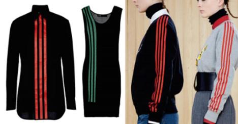 Bal oldalon az Adidas csíkjai, jobb oldalon pedig Marc Jacobs négy-csíkos pulóvere.