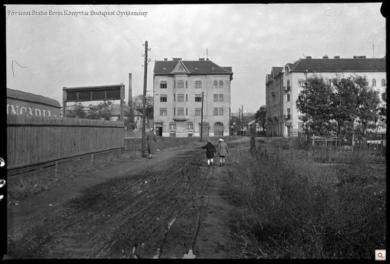 A Róna utca 1934-ben - a páros oldal helyén még bolgárkertészetek voltak