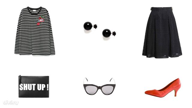 Felső - 9995 Ft (Zara), fülbevaló - 8,22 euró (Asos), szoknya - 9990 Ft (H&M), táska - 6995 Ft (Mango), napszemüveg - 4,99 font (New Look), cipő - 3990 Ft (Asia Center)