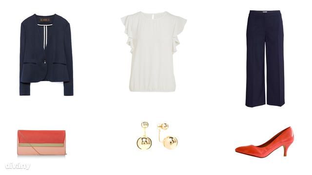 Blézer - 14995 Ft (Zara), blúz - 4800 Ft (F&F), nadrág - 8990 Ft (H&M), táska - 15,99 font (New Look), fülbevaló - 10,96 euró (Parfois) , cipő - 3990 Ft (Asia Center)
