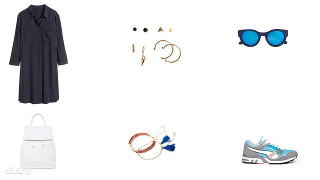 Ruha - 8990 Ft (H&M), fülbevaló - 890 Ft (H&M), napszemüveg - 4995 Ft (Zara), hátizsák - 55 font (Topshop), karkötő - 4595 Ft (Mango), cipő - 82,19 euró (Puma/Asos)