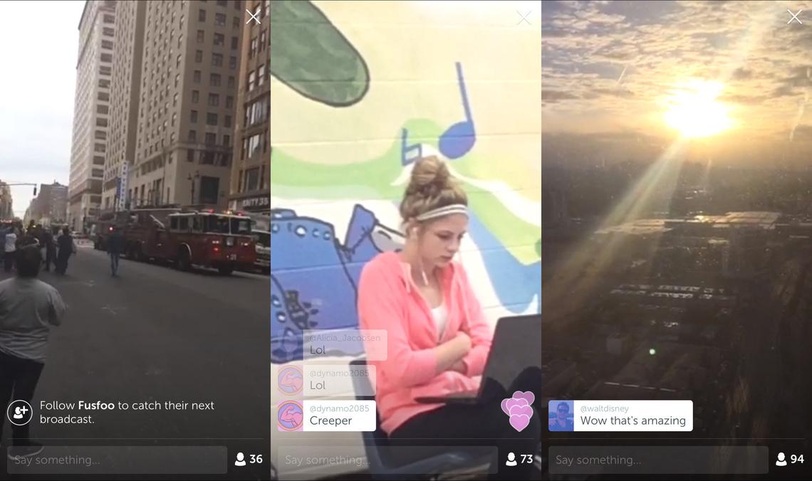 """Néhány csatorna amiket véletlenszerűen elindítottunk a Periscope-on: az elsőn egy New York-i gázrobbanás helyszínét kamerázta valaki, a másodikon a vele szemben ülő lányt - a csatorna címe az volt """"vajon mikor veszi észre?"""", a harmadik csatornán a napfelkeltét nézhettük végig San Francisco felett."""
