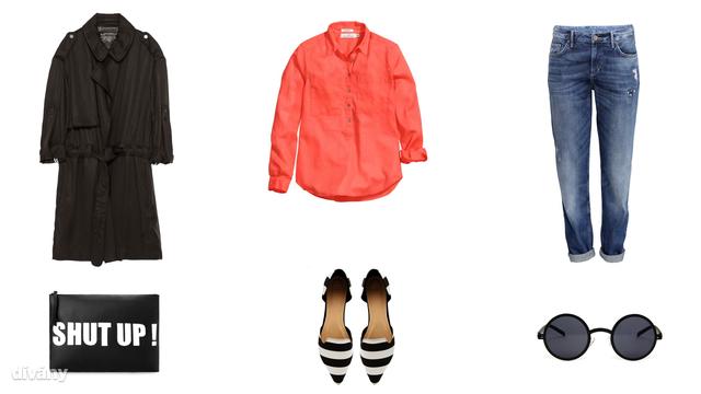 Kabát - 22995 Ft (Zara), ing - 5990 Ft (H&M) , farmernadrág - 5990 Ft (H&M), táska - 6995 Ft (Mango), cipő - 27,40 euró (Asos), napszemüveg - 16,44 euró (Asos)
