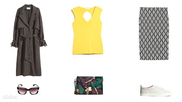 Kabát - 19990 Ft (H&M), ujjatlan felső - 8995 Ft (Mango), szoknya - 4995 Ft (Zara), napszemüveg - 5,99 font (New Look), táska - 9995 Ft (Zara) , cipő - 14990 Ft (H&M)