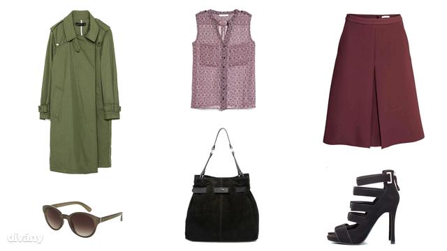Kabát - 29995 Ft (Zara), blúz - 9995 Ft (Mango), szoknya - 12990 Ft (H&M), napszemüveg - 16 font (Topshop), táska - 54,79 euró (Asos), cipő - 6995 Ft (Bershka)
