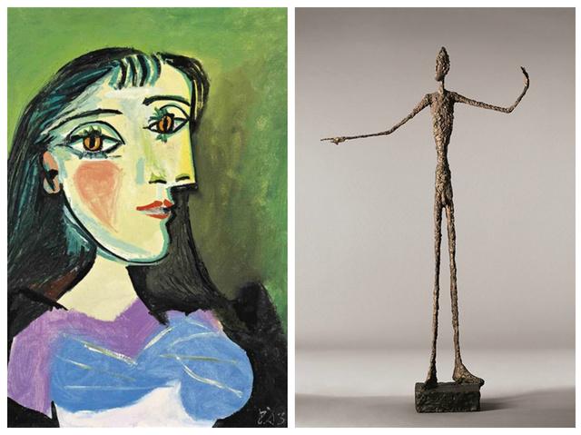 Balra a Buste de femme, ami szintén a várakozásokon felüli árért kelt el, jobbra pedig a rekorder szobor, a Mutató ember.