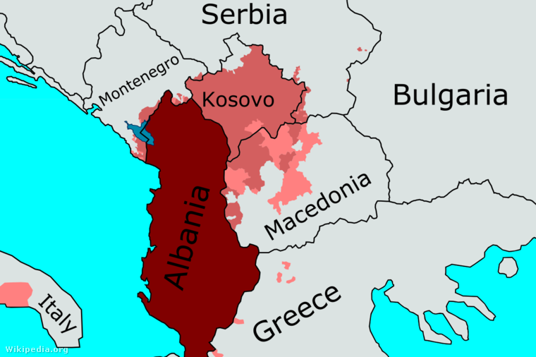 Az albán ajkú lakosság eloszlása a Balkánon