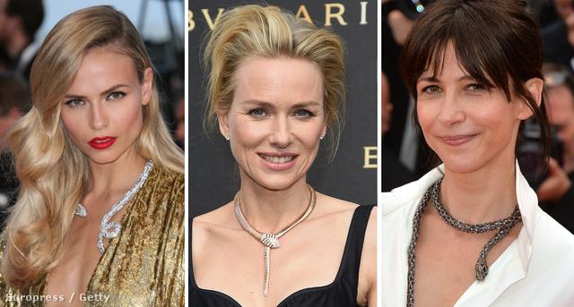 Natasha Poly-n Boucheron, Naomi Watts-on Bulgari, Sophie Marceau-n Chopard kígyó tekereg.