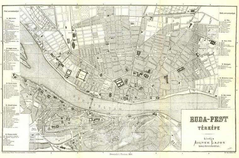 Buda-Pest térképe utbaigazító kalauzzal 1870-ből