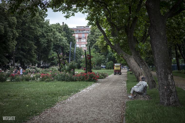 A parkban napközben sokan megpihennek, üldögélnek, játszótér is van.