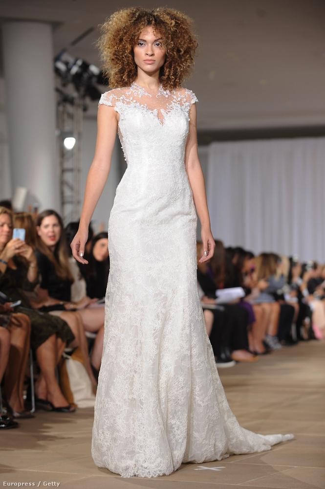 És Ines Di Santónál láttuk azt a modellt is, akinek a legkevésbé menyasszonyos a frizurája – szerintünk szuper!