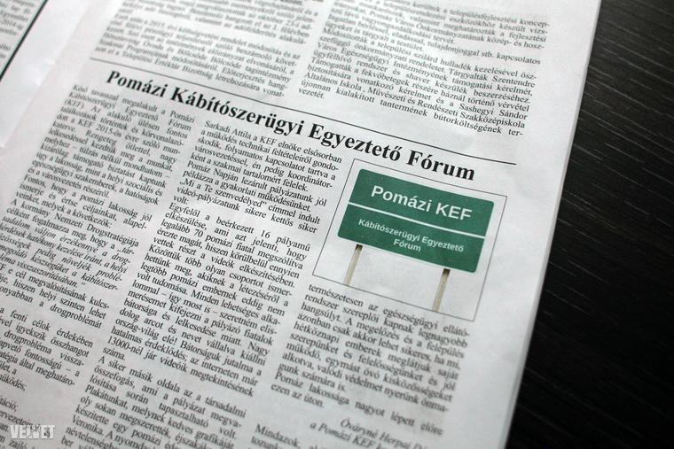 Végül vessünk két pillantást a Pomázi Polgárra, amely amellett, hogy a címlapi újítások nagymestere (lásd nyitóképünket), fontos tényeket közöl: a településen kemény harc folyik a drogok ellen (Pomázi KEF),