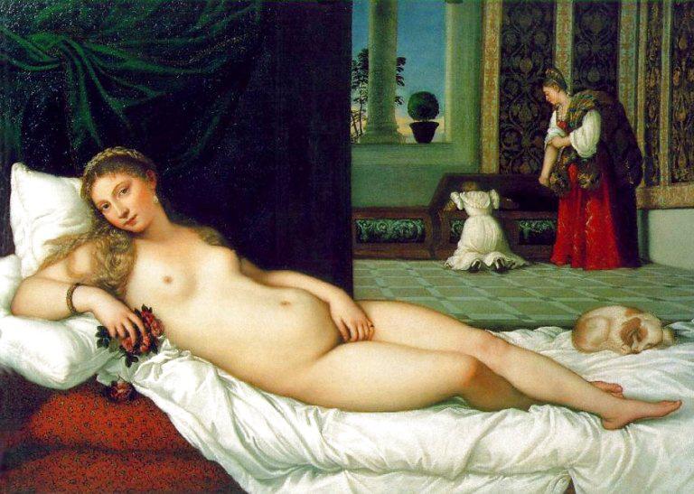 Tiziano ezt a képet az urbinói hercegnek készítette, a kép az Urbinói Vénusz nevet kapta